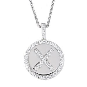 Letter X Initial CZ Pendant .925 Sterling Silver